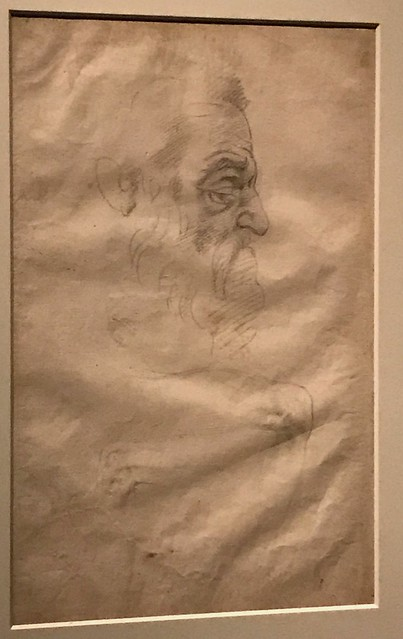 Michelangelo_Study for the Head of Prophet Zachariah, the Legs of Ignudi on the Sistine Ceiling