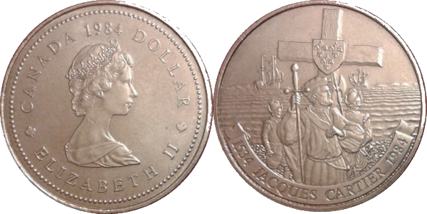 Commemorative dollar released by Canada Mint in 1984 honoring Jacques Cartier on the reverse.