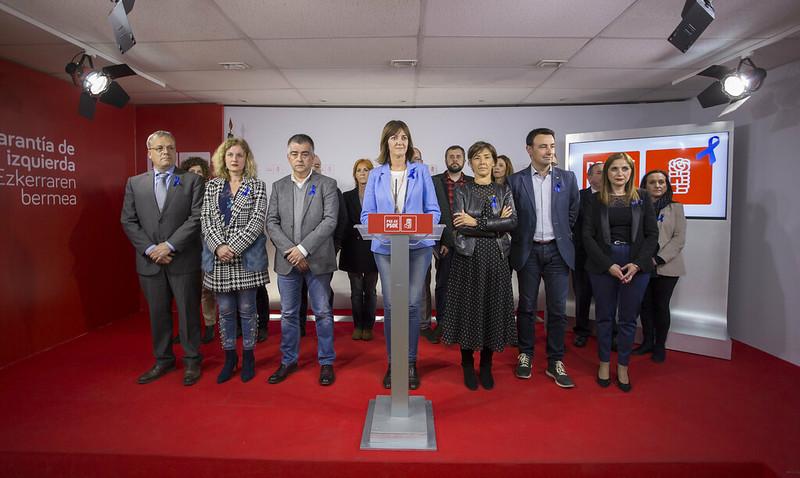 Rueda de prensa de los Socialistas Vascos tras la disolución de ETA