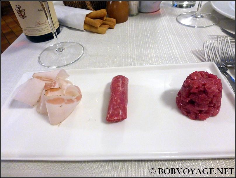 טעימות: טרטר עגל, נקניקיית bra ו- Lardo ב- Osteria Boccondivino