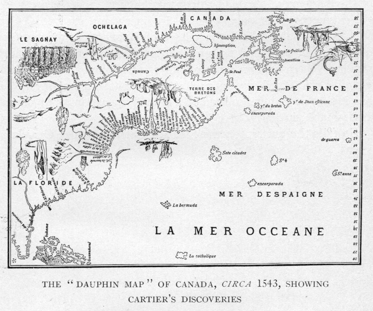 The Dauphin Map of Canada, c. 1543, showing Cartier's discoveries