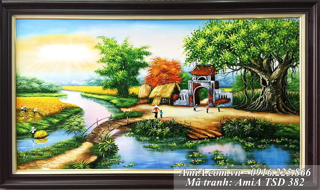 Tranh vẽ sơn dầu phong ảnh làng quê cầu tre bắc qua sông