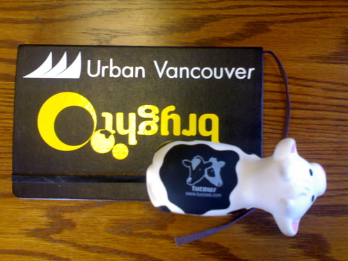 Squishy Cow on Moleskine Branded With Bryght and Urban Vancouver Stickers