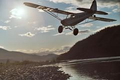 Low pass, Piper PA-18 Super Cub, Chitina River, Alaska