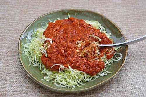 Zucchini Pasta with Marinara Sauce - Raw Vegan | Flickr - Photo ...