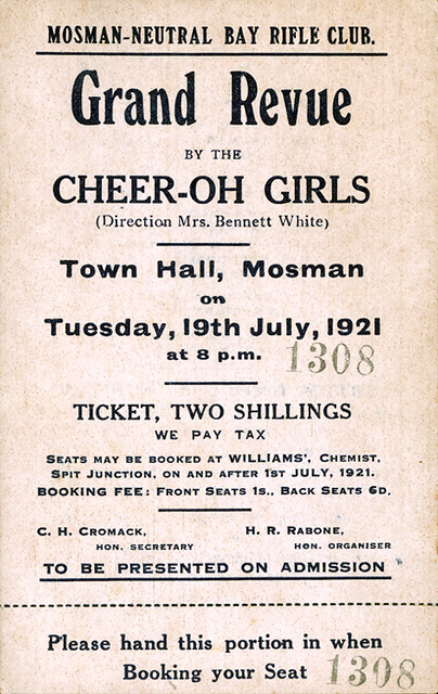 Mosman-Neutral Bay Rifle Club, Grand Revue by the Cheer-oh Girls, 1921