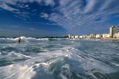 The surf at Copacabana Beach - Rio de Janeiro  Cidade maravilhosa, cheia de encantos mil  Cidade maravilhosa, coração do meu Brasil!   Canon EOS Rebel IIs - Sigma EX 17-35mm Aspherical Fuji Velvia 100