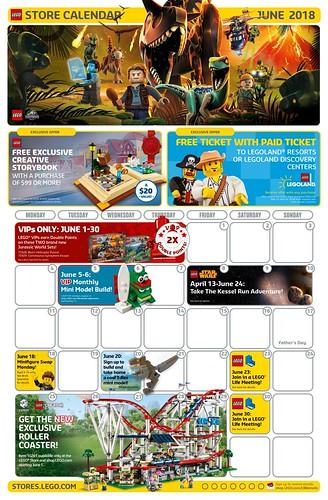 June 2018 LEGO Store Calendar