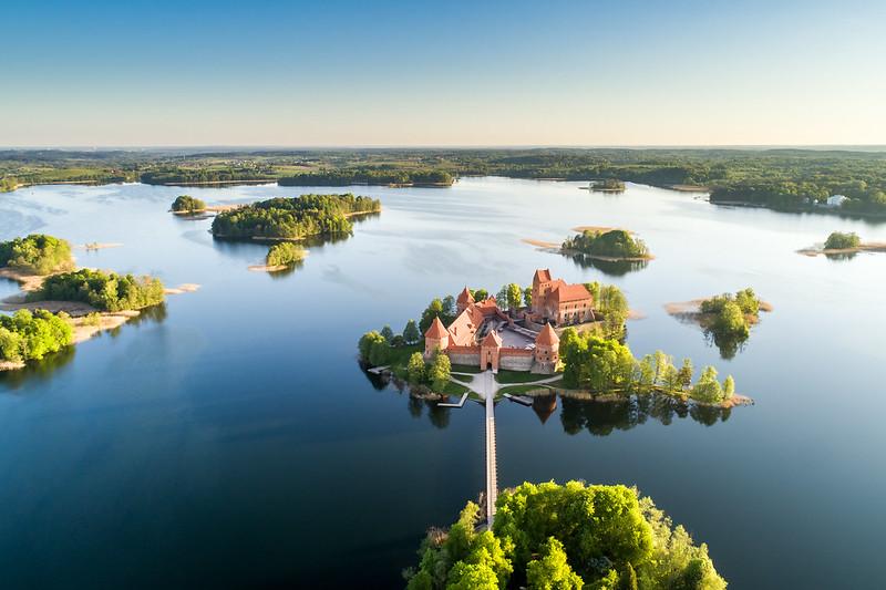 Island castle in Trakai at Galves lake