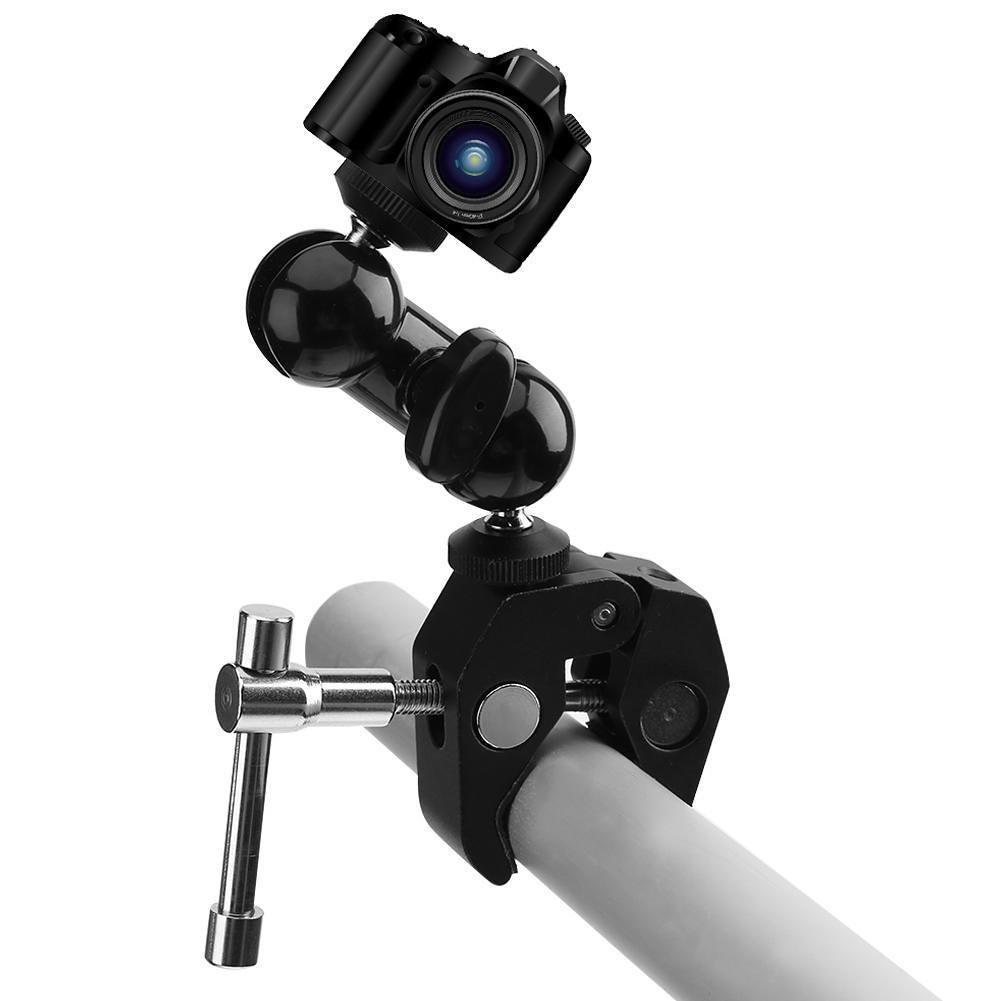 Magic arm mount mini xoay 360 độ và Kẹp ghi đông nhôm CNC siêu cứng gắn đèn Led, Microphone