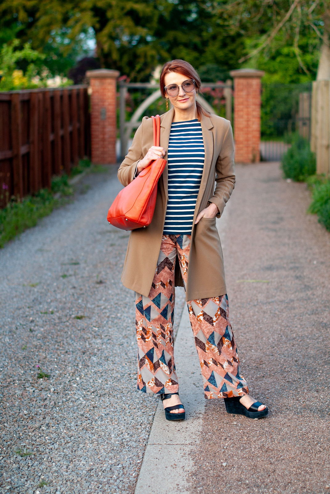How to Create a Stylish Look With Loose-Fitting Pieces: Longline camel blazer \ navy stripe Breton top \ patterned wide leg trousers pants | Not Dressed As Lamb, over 40 style