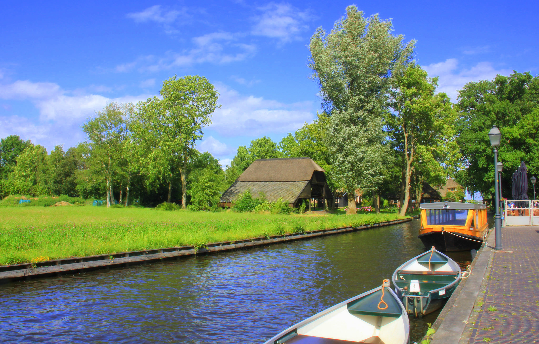 Boats are used for transportation in Giethoorn