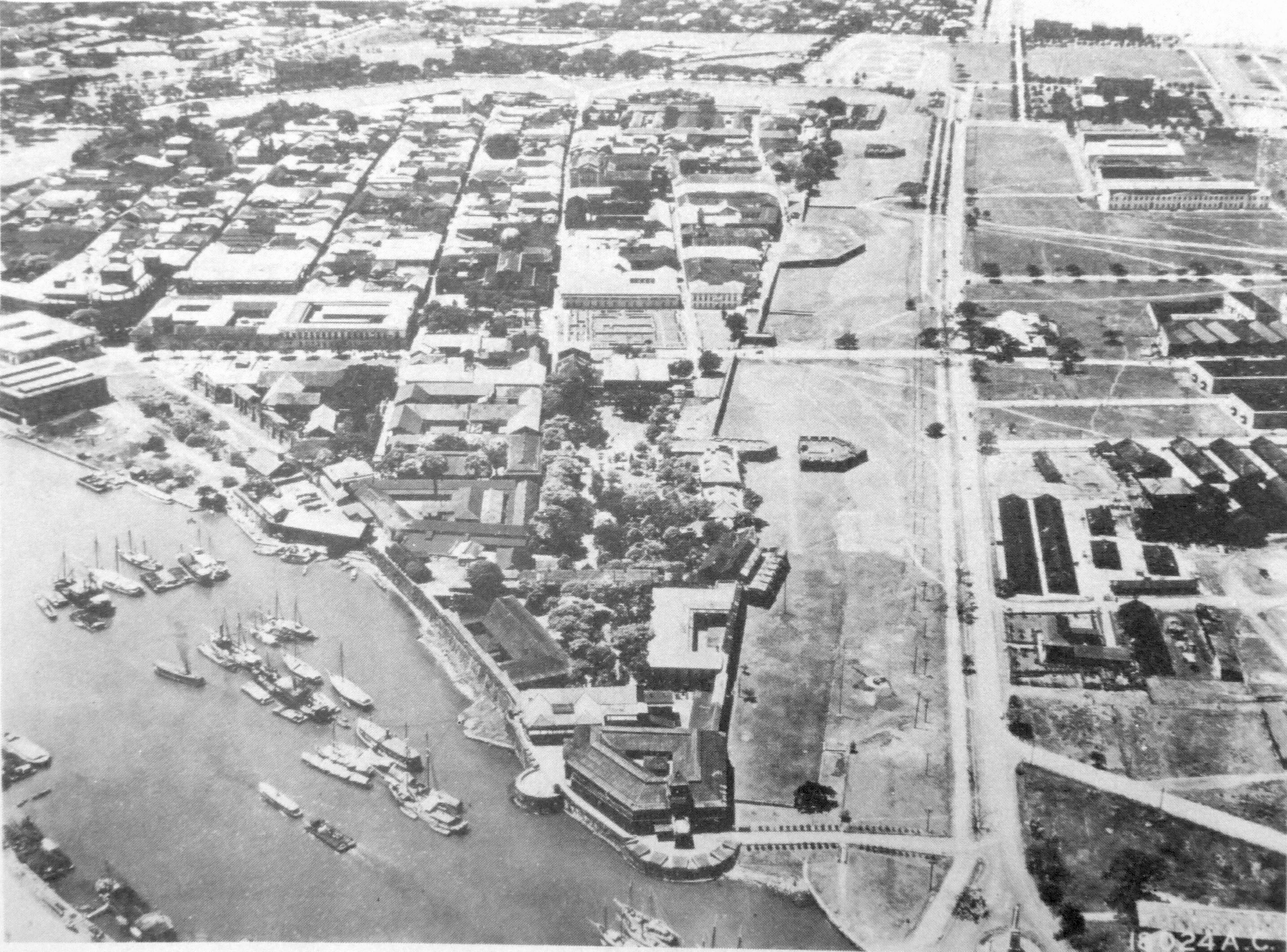 Aerial view of Fort Santiago in Manila, Philippines, circa 1941.