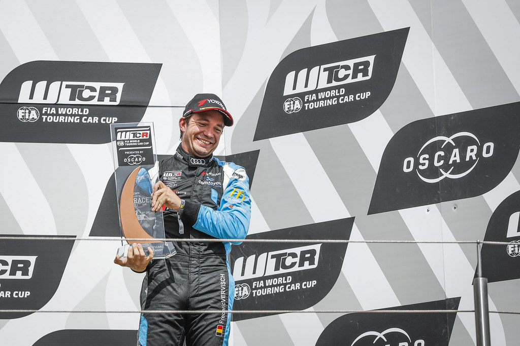 VERVISCH Frederic (BEL), AUDI Sport Team COMTOYOU, Audi RS3 LMS, portrait podium during the 2018 FIA WTCR World Touring Car cup of Nurburgring, Nordschleife, Germany from May 10 to 12 - Photo Florent Gooden / DPPI
