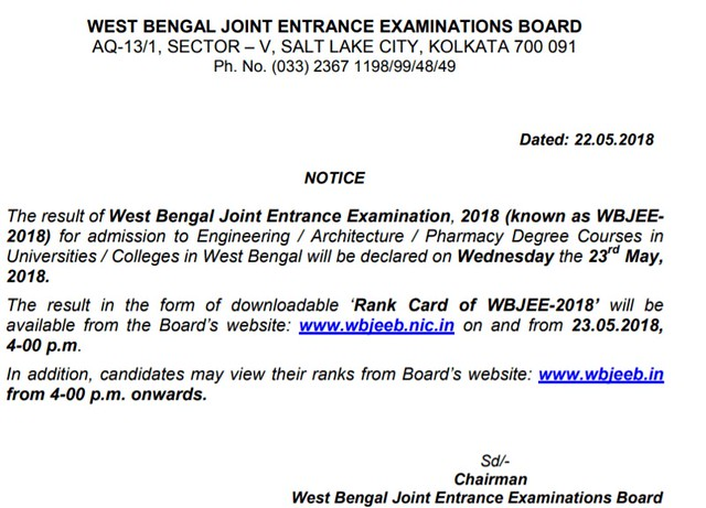 WBJEE Result 2018 Latest News