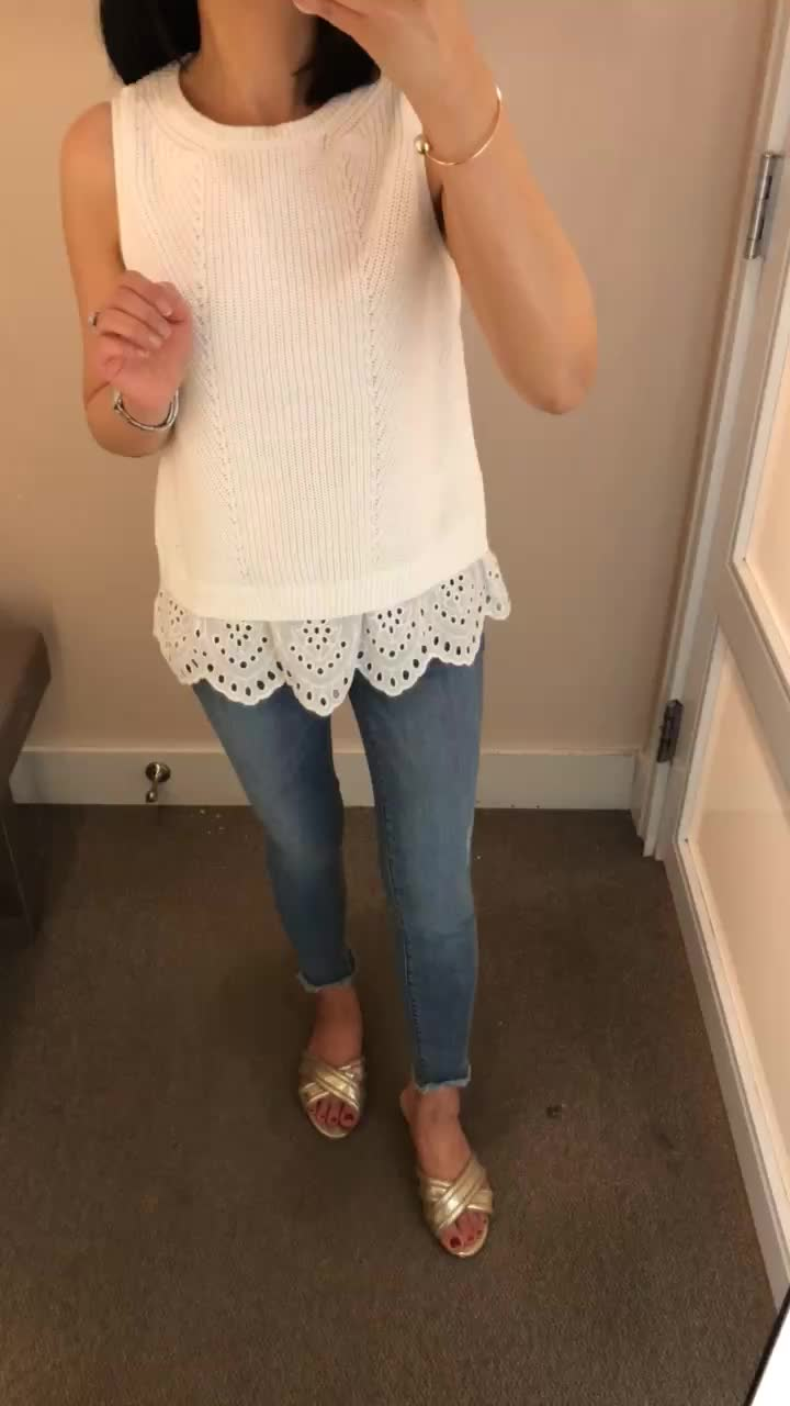 LOFT Eyelet Sweater Tank, size XS regular
