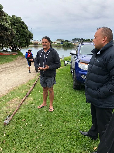 Ned, our waka rowing master briefing us on paddling team work