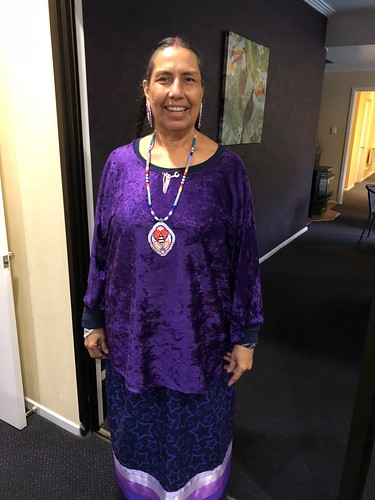 Casey Camp Horinek dressed for our day with the Māori River People. Note her wearing of Wings's Warrior Women pin. She let the pin pick which Iwi it wanted to visit. Today was the day.
