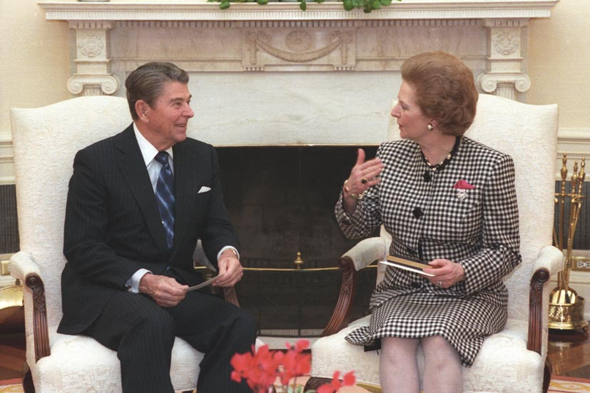 U.S. President Ronald Reagan and U.K. Prime Minister Margaret Thatcher. Photo taken on November 16, 1988.