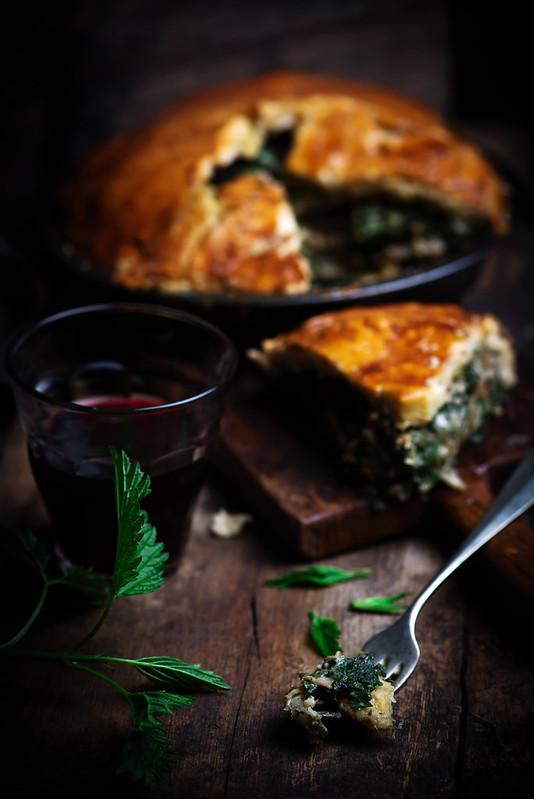 Chicken and nettle pie.