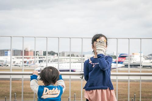 作例:娘と息子。伊丹空港近くの公園で撮影。