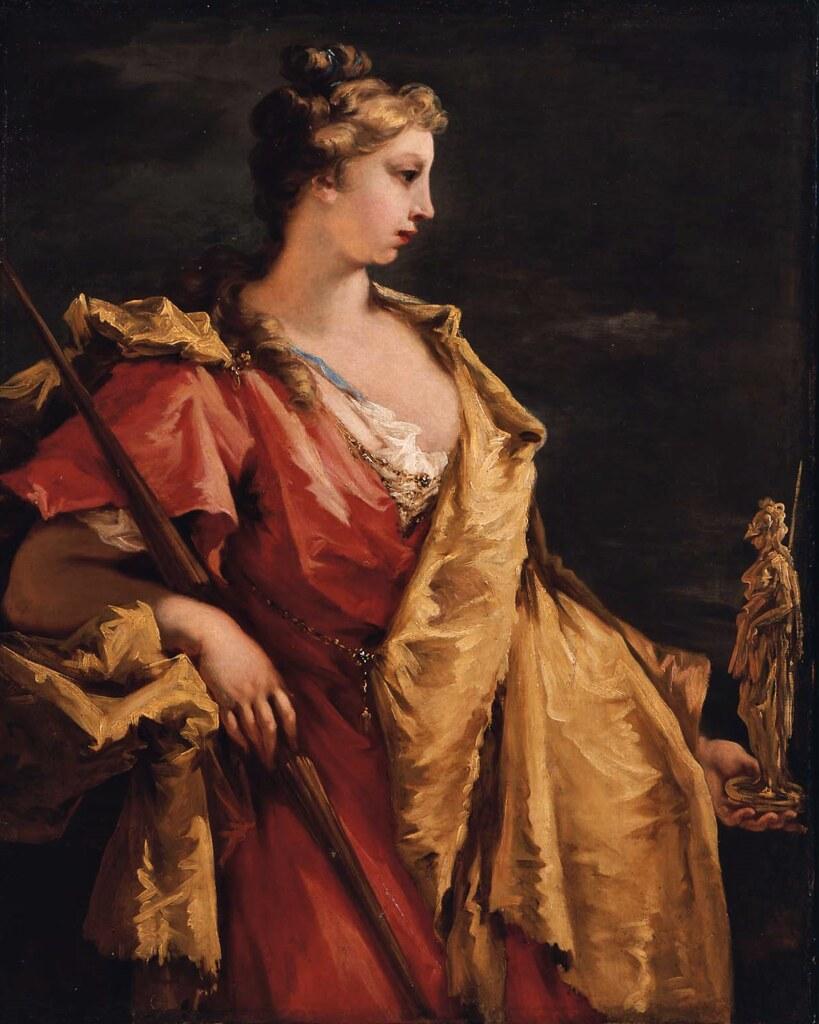 Giovanni Antonio Pellegrini - Nobility Holding a Statue of Athena