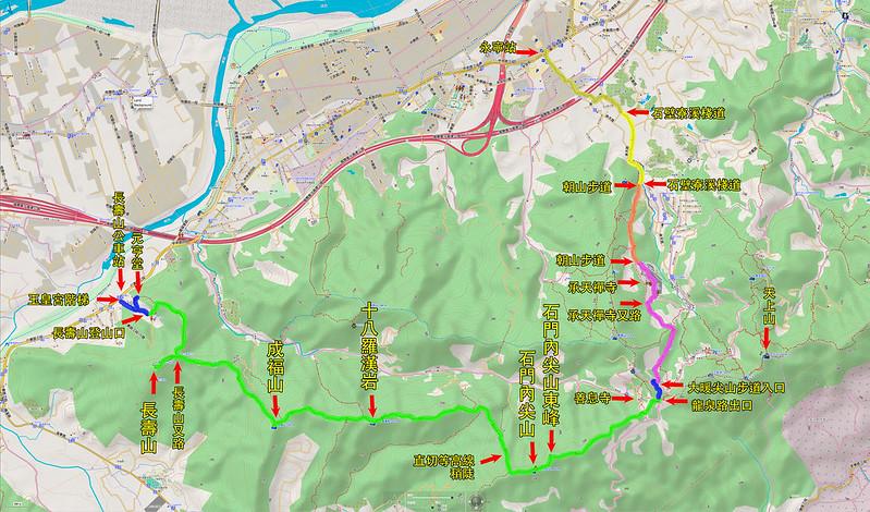013、標示路線軌跡:土城步道:長壽山、成福山、十八羅漢岩、石門內尖山、石門內尖山東峰