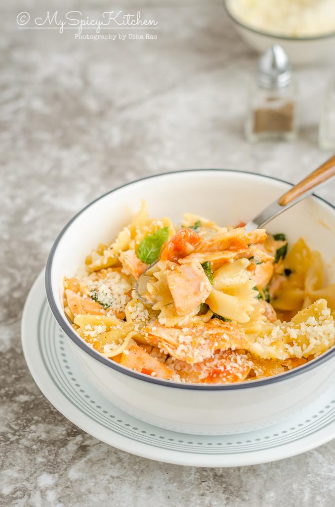 A bowl salmon pasta