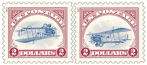 Inverted and Upright Jenny stamps released by the U.S. Postal Service on September 22, 2013.