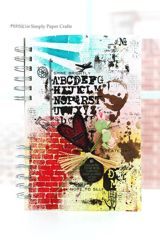 Meihsia Liu Simply Paper Crafts Mixed Media Art Journal Tim Holtz Stencil Simon Says Stamp 1