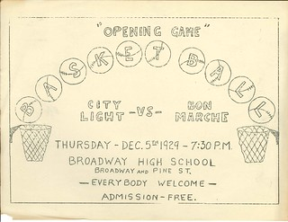 City Light vs. Bon Marche basketball game, 1929