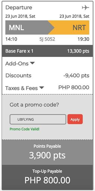 Manila to Narita GetGo Points Sale June 23, 2018