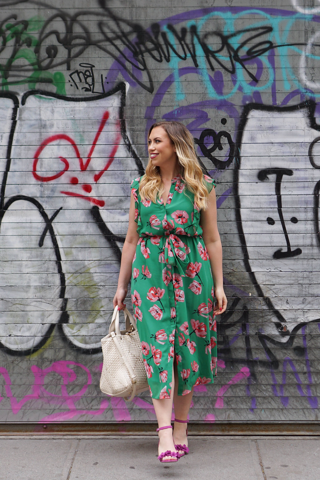 What to Wear to a Baby Shower in Spring Green Floral Midi Dress Pink Sandals Spring Outfit Living After Midnite Jackie Giardina
