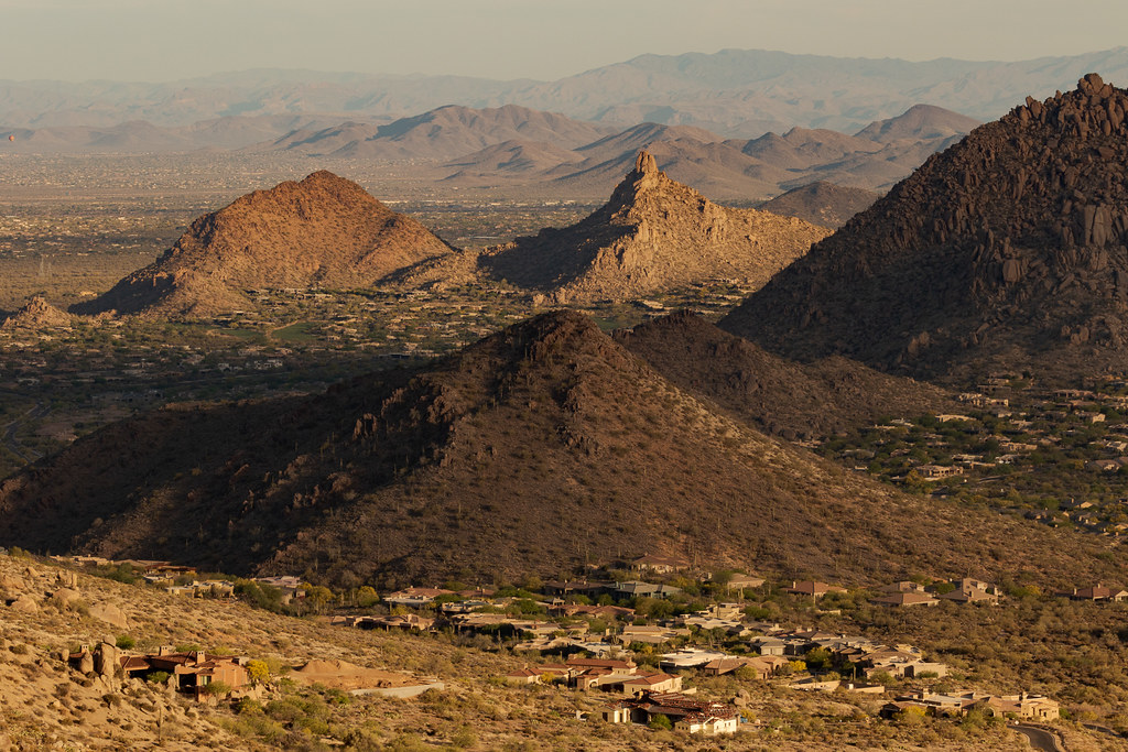 A view west of Pinnacle Peak and other mountains from the Tom's Thumb Trail in the McDowell Sonoran Preserve in Scottsdale, Arizona