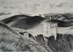 Paysage de Toscane Fusain et crayon Pierre noire. Charcoal