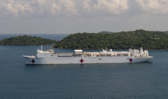 USNS Mercy (T-AH 19) sits at anchor off the coast of Trincomolee, Sri Lanka, April 27. (U.S. Navy/MC3 Cameron Pinske)