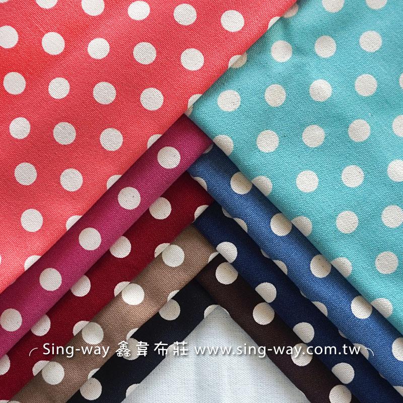 大白點 水玉 10安帆布  酒袋布 水玉 點點 圓點 配布 手工藝DIy拼布布料 CA850002