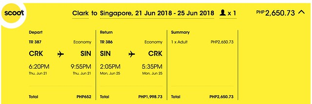 Scoot Clark to Singapore June 21 to 25, 2018