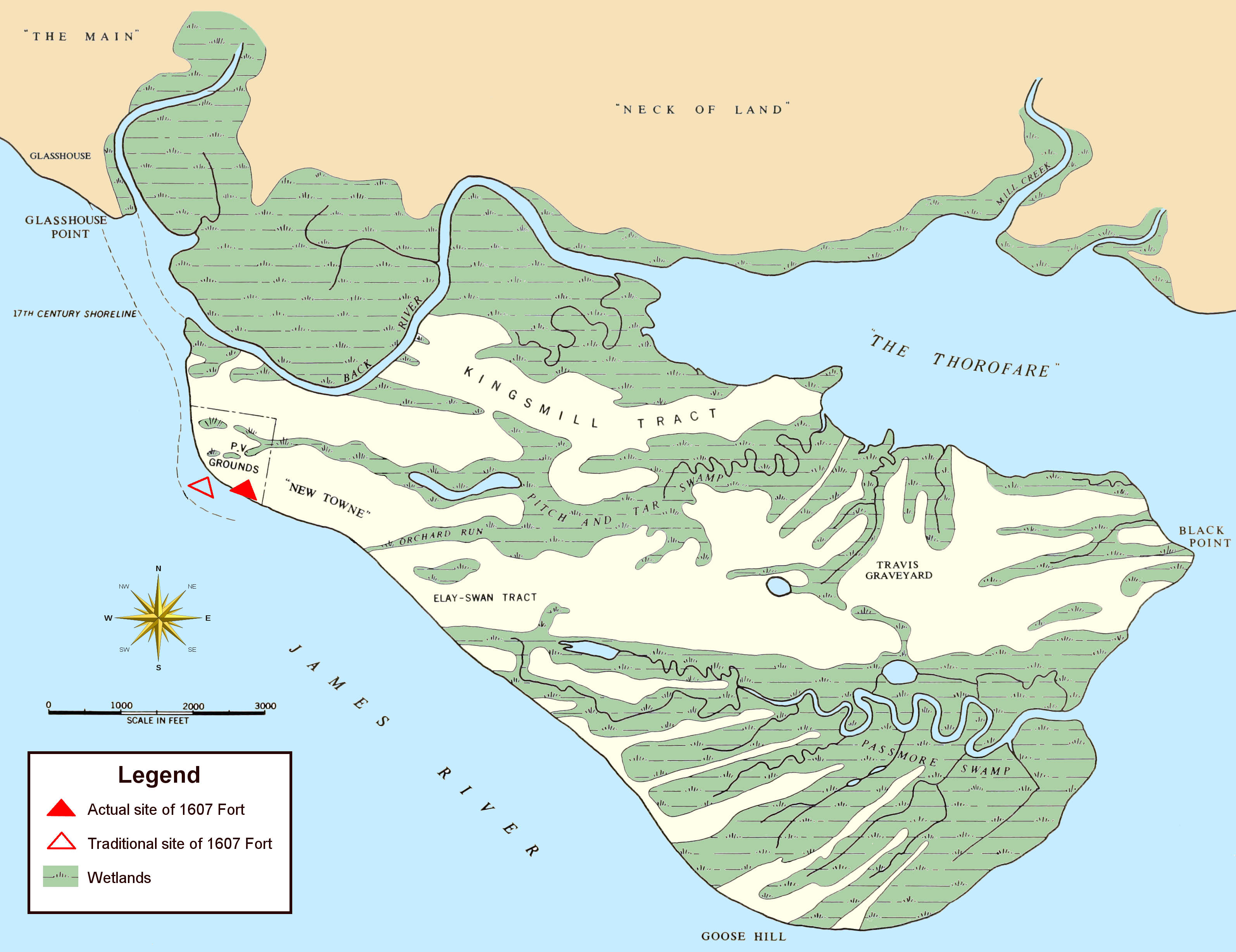 Map showing terrain of Jamestown Island (as it appeared in the middle of the 20th century). Note: roads and the causeway bridge linking the island to Glasshouse Point are not pictured. Indicated are the location where the 1607 James Fort was discovered (in 1994), as well as where it had traditionally thought to have been located.