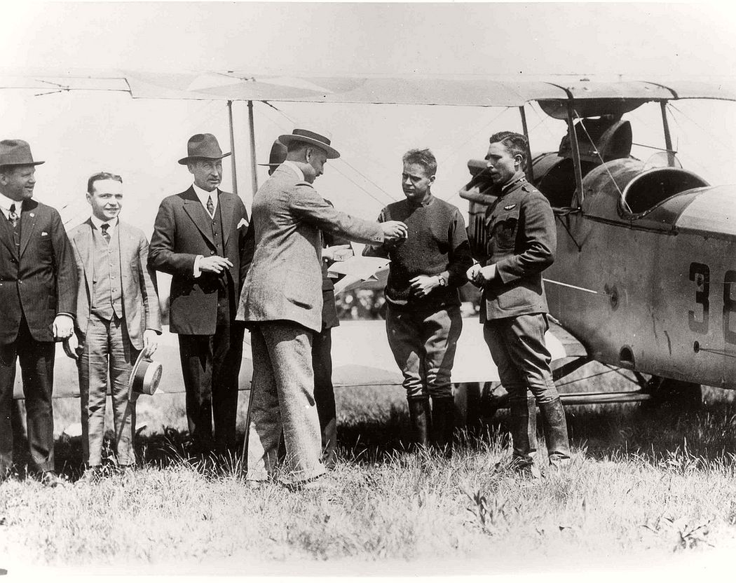 First day of the U.S airmail service with Lt. George L. Boy and Curtiss Jenny JN-4HM #38262 at the right, May 15, 1918.