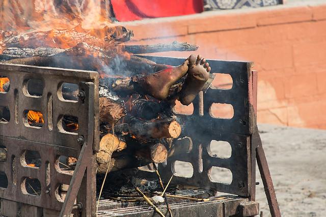 Human remains at the Manikarnika Burning Ghat in Varanasi, India.