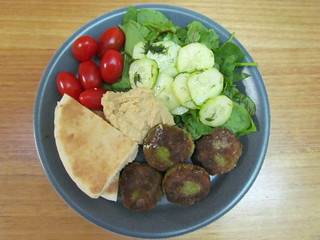 Broad Bean Fritters with a Tangy Cucumber Salad