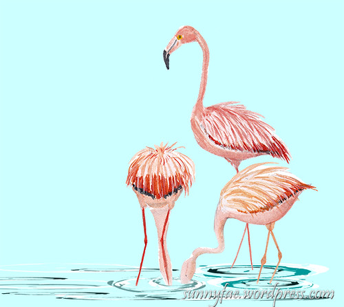 flamingo watercolour sketch digitally manipulated