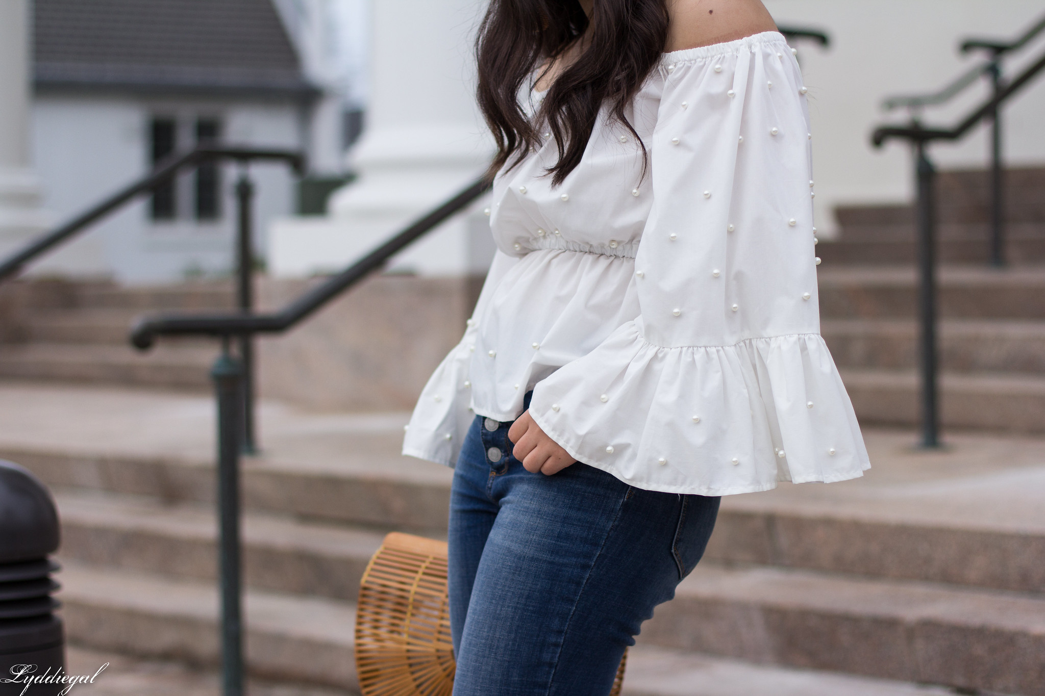 off the shoulder pearl embellished blouse, distressed denim, bamboo purse-10.jpg