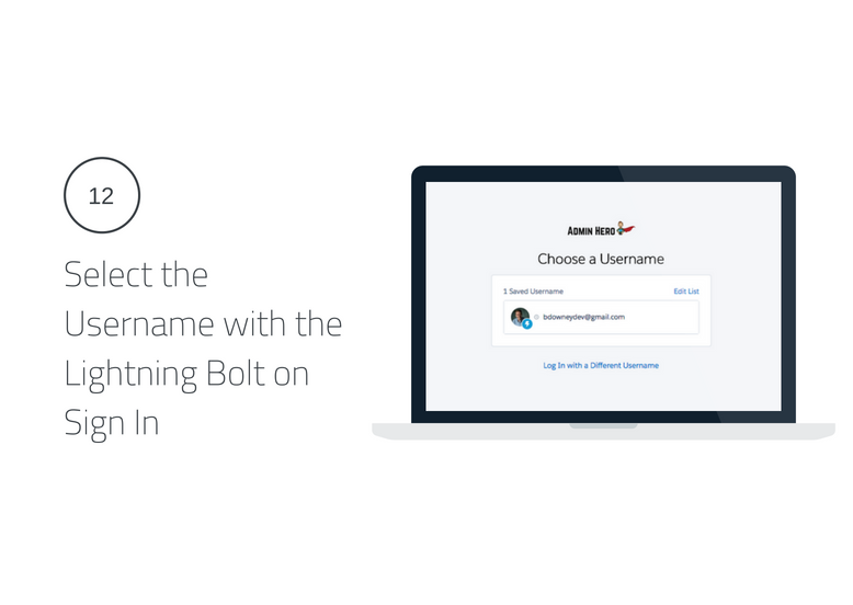 Select the Username with the Lightning Bolt on Sign In Lightning Login