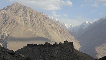 Blick von der Jamchun Burg auf den Wakhan