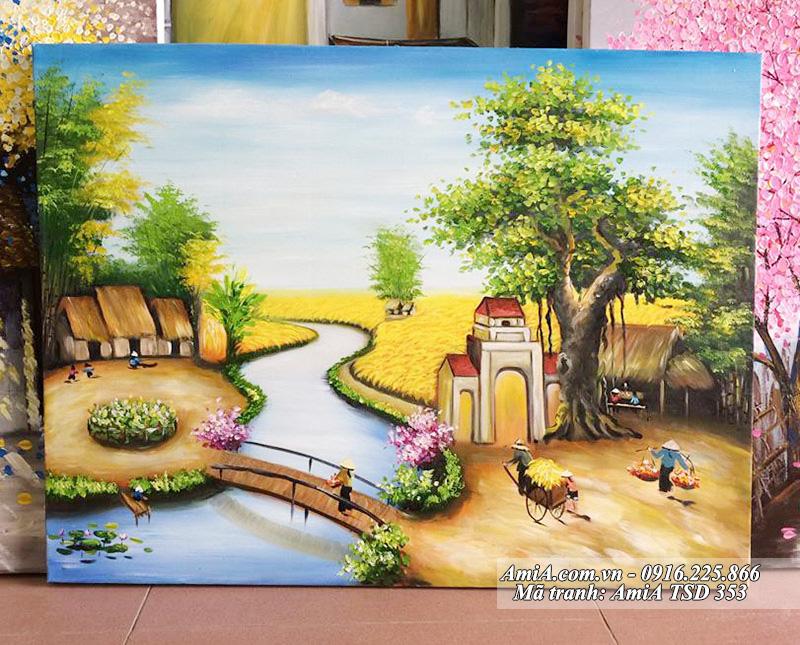 Tranh sơn dầu phong cảnh làng quê em ngày mùa sản xuất