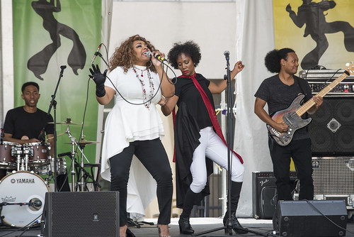 Naydja Co Joe & the Lagniappe Section during Jazz Fest day 5 on May 4, 2018. Photo by Ryan Hodgson-Rigsbee RHRphoto.com