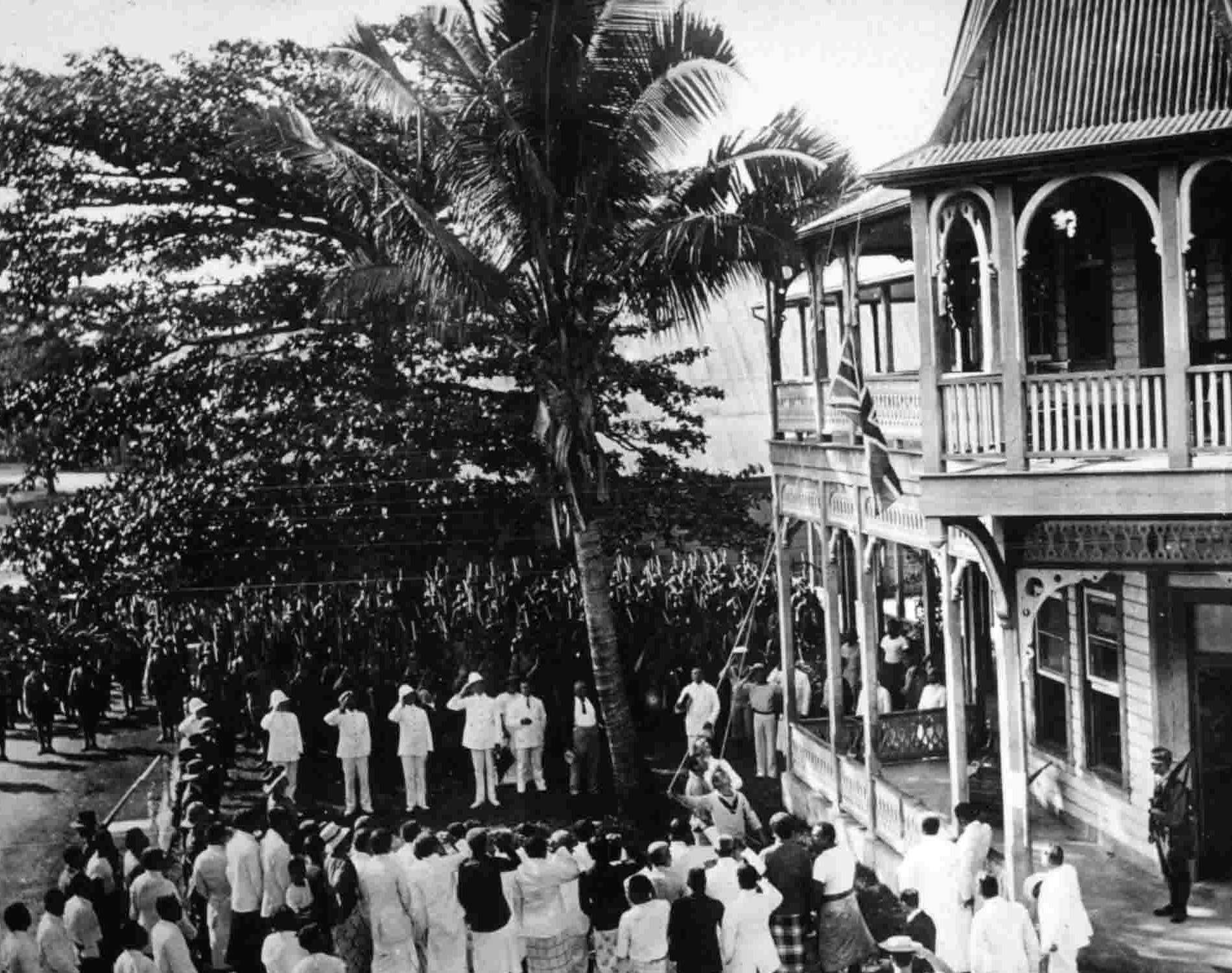 Occupation of German-Samoa at the beginning of World War I. Hoisting of the Union Jack at the courthouse at Apia on August 30, 1914.