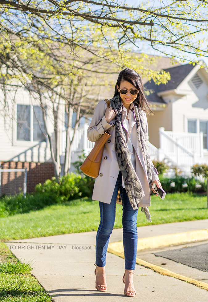 camo printed scarf, trench coat, white silk blouse, skinny jeans, cognac brown tote, brown suede heels with knot